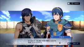 New Fire Emblem Warriors dialogue scene with Marth and Chrom