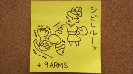 Biff takes a hit from Ribbon Girl and her Sparky ARM